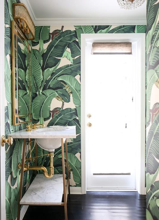 White And Gold Powder Room With Martinique Banana Leaf