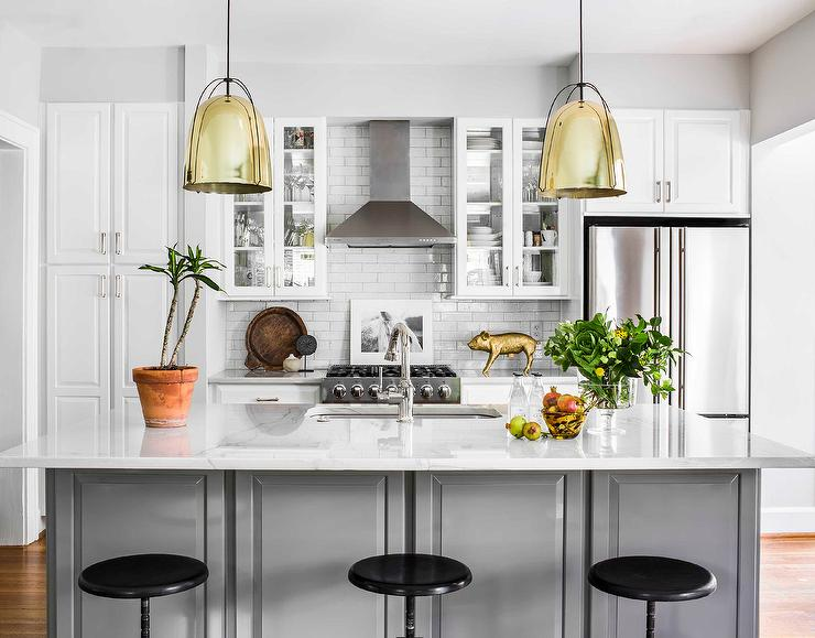 Gray Island With Gold Dome Light Pendants Transitional Kitchen - Kitchen dome light