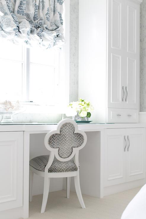 Blue And Gray Vanity Chair White Built In Dressing Table Design Ideas