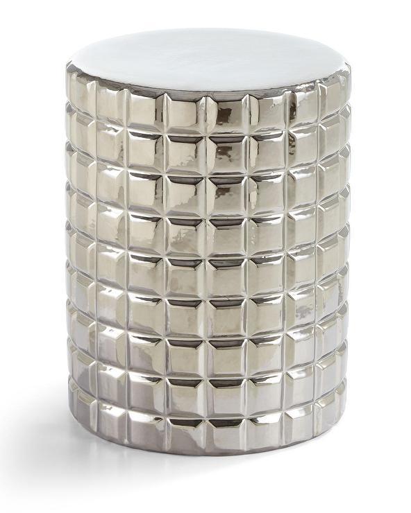 Silver Raised Squares Garden Stool