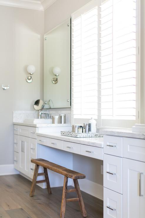 Makeup Vanity With Sawhorse Bench Transitional Bathroom
