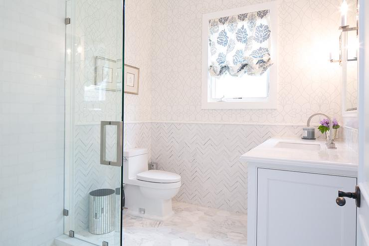 Wall With Marble Herringbone Tiles Transitional Bathroom