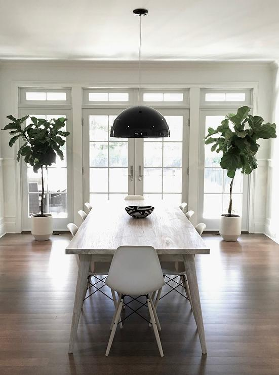 Black Dome Light Pendant With Light Gray Dining Table