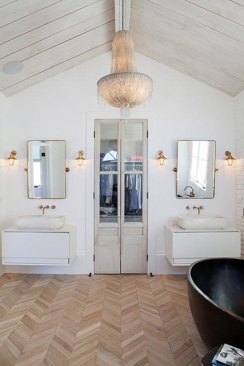 ... Floating Sink vanity with Brass Pivot Mirror - Contemporary - Bathroom