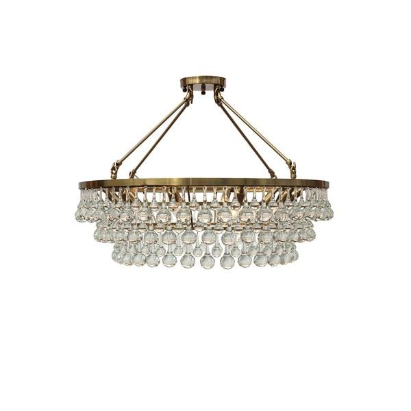 Brass Flush Mount Glass Drop Crystal Chandelier - Chandelier drop crystals