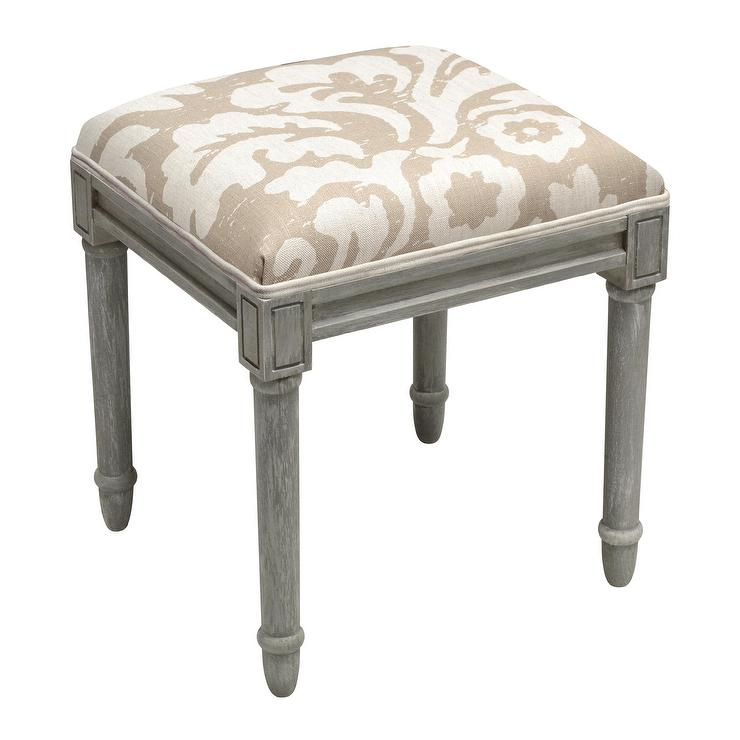 Awe Inspiring Floral Taupe Grey Wooden Vanity Stool Unemploymentrelief Wooden Chair Designs For Living Room Unemploymentrelieforg