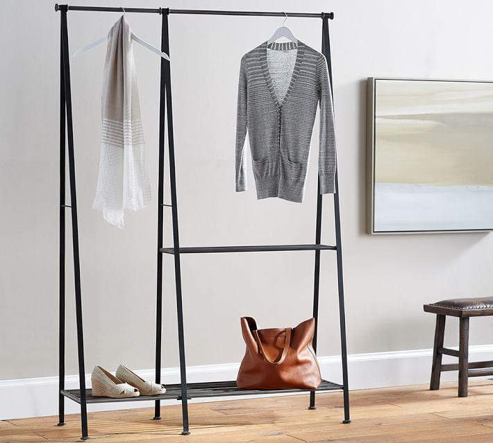 antique gray modular clothes rack