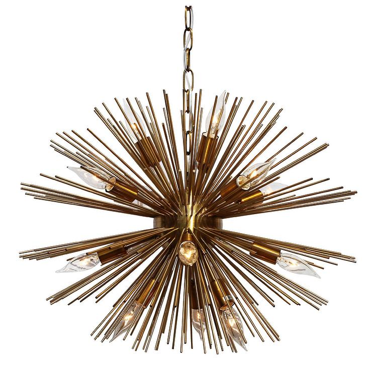 sunburst 12 light brass chandelier - Starburst Chandelier