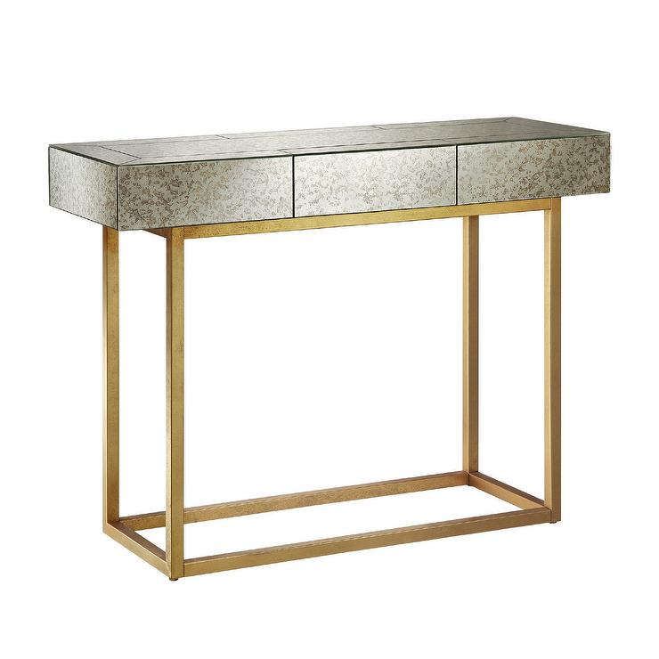 glam mirror gold console table