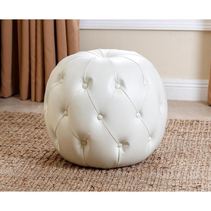 Stupendous Abbyson Ivory Grand Tufted Leather Ottoman Gmtry Best Dining Table And Chair Ideas Images Gmtryco