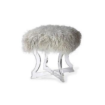 Audrey Blush Fur Round Ottoman