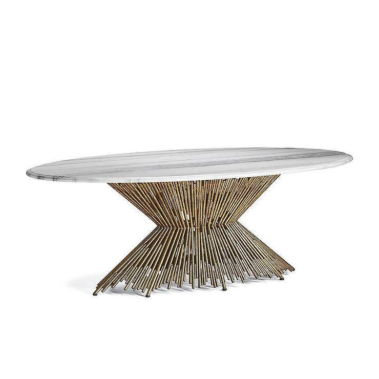 Oval Gold Cone Silhouette Dining Table