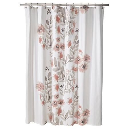 coral and brown shower curtain.  Flat Weave Coral Blooms Shower Curtain