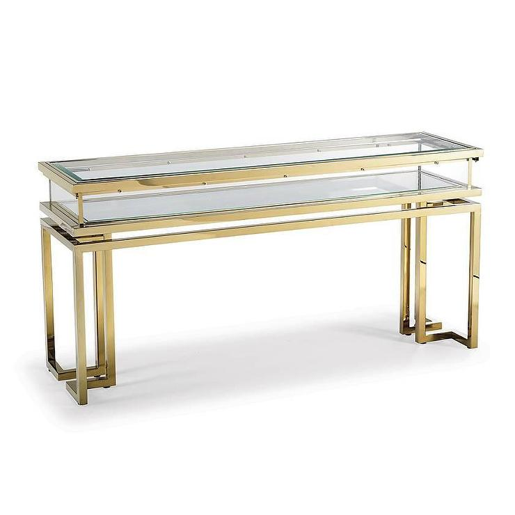 Palmer Brass Glass Sliding Console Table