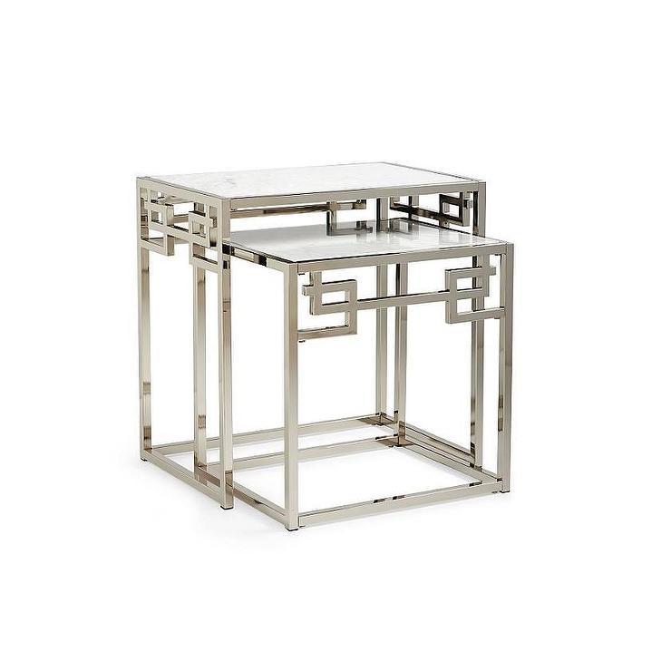 Greek Key Silver Nesting Tables