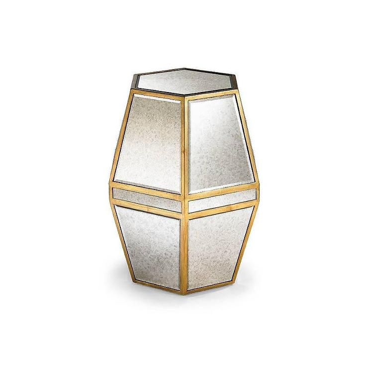 Hexagonal Mirrored Drum Table
