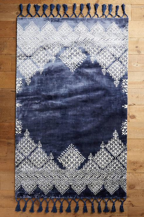 Moroccan Navy Blue Wool Rug Overstock Com