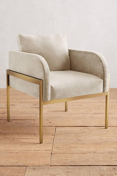 Marvelous Velvet Beige Brass Mod Chair Gamerscity Chair Design For Home Gamerscityorg