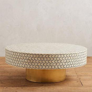 Attractive Targua White Tiled Brass Coffee Table