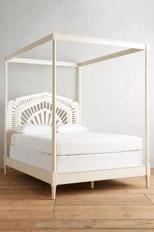 Lacework Cream Canopy Bed & Cream Canopy Bed