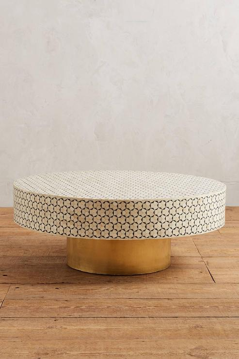 Targua White Tiled Brass Coffee Table