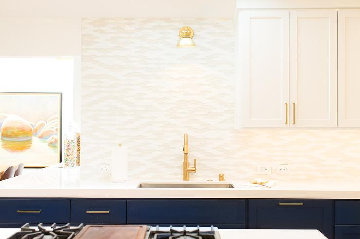 Blue Base Kitchen Cabinets with Brass Pulls & Blue Base Kitchen Cabinets with Brass Pulls - Contemporary - Kitchen kurilladesign.com
