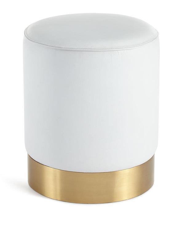 white leather gold base ottoman