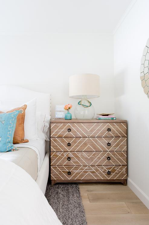 Wood Diamond Pattern Dresser as Nightstand Transitional Bedroom