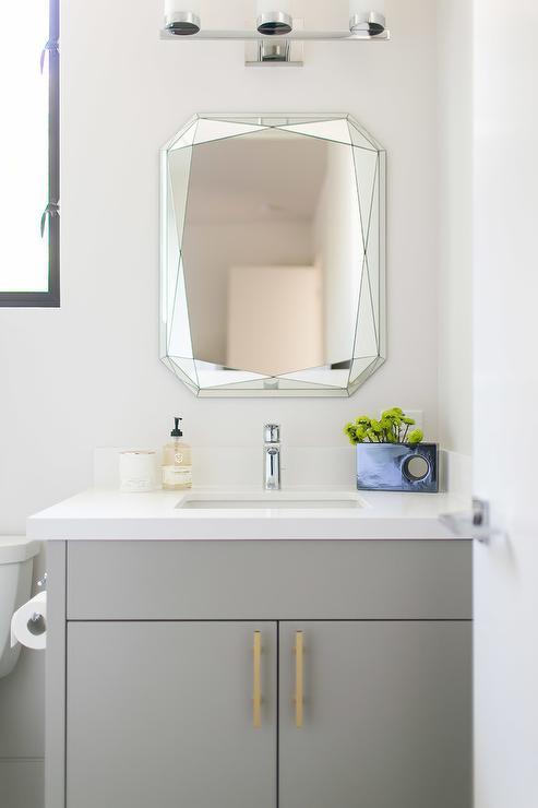 Bathroom Vanity Pulls dove gray bath vanity with brass pulls - transitional - bathroom