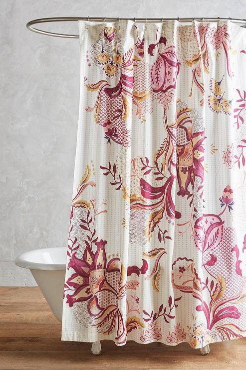 orange floral shower curtain.  Rosaflora Rasberry Floral Shower Curtain