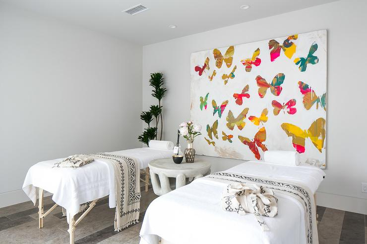 Zen Spa Room With Large Butterfly Canvas Art