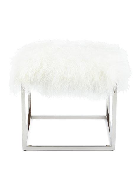 Fantastic Reno Chrome Sheepskin Ottoman Bralicious Painted Fabric Chair Ideas Braliciousco