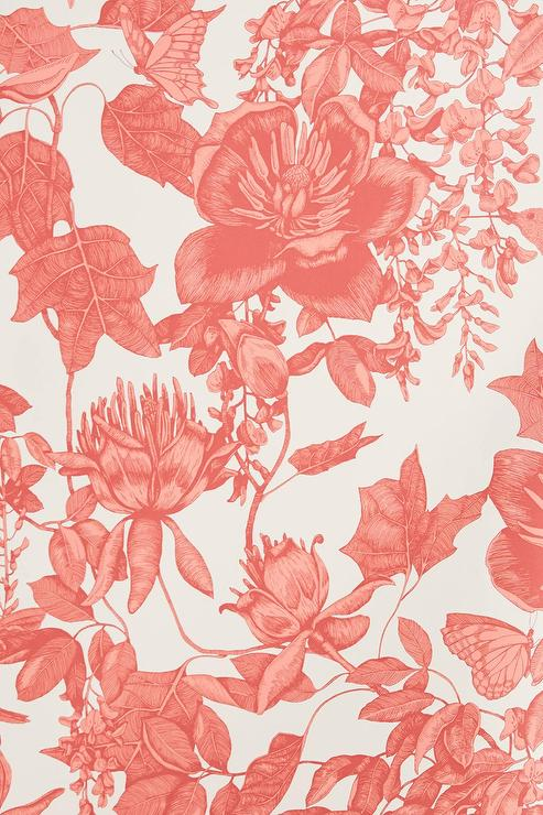 Tivoli Coral Flowers Wallpaper