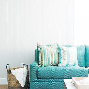 Turquoise Blue Striped Sofa Design Ideas