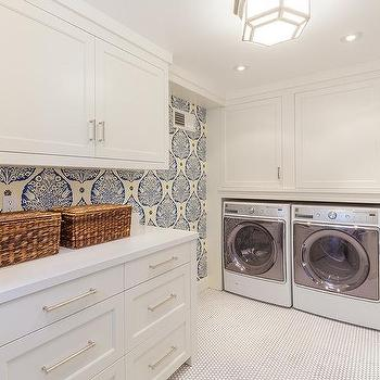 Laundry Room Wallpaper Amazing Laundry Room Blue Wallpapered Accent Wall Design Ideas Decorating Inspiration