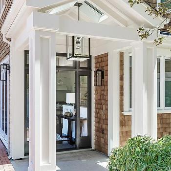 Shingled Home With White Portico Design Ideas