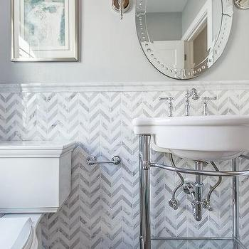 Chevron Pattern Tiles Transitional Bathroom Hirshson