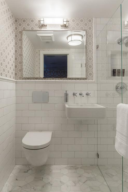 Small Bathroom Gray And White : Marble sink contemporary bathroom jackson paige