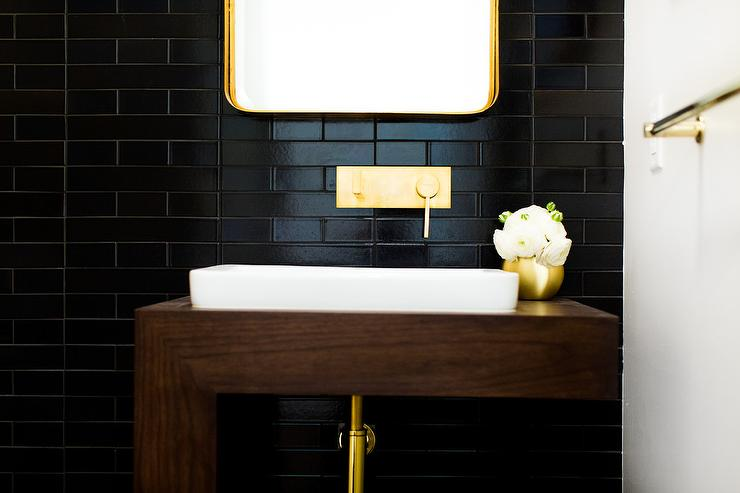 Black Subway Tile powder room black subway tiles design ideas