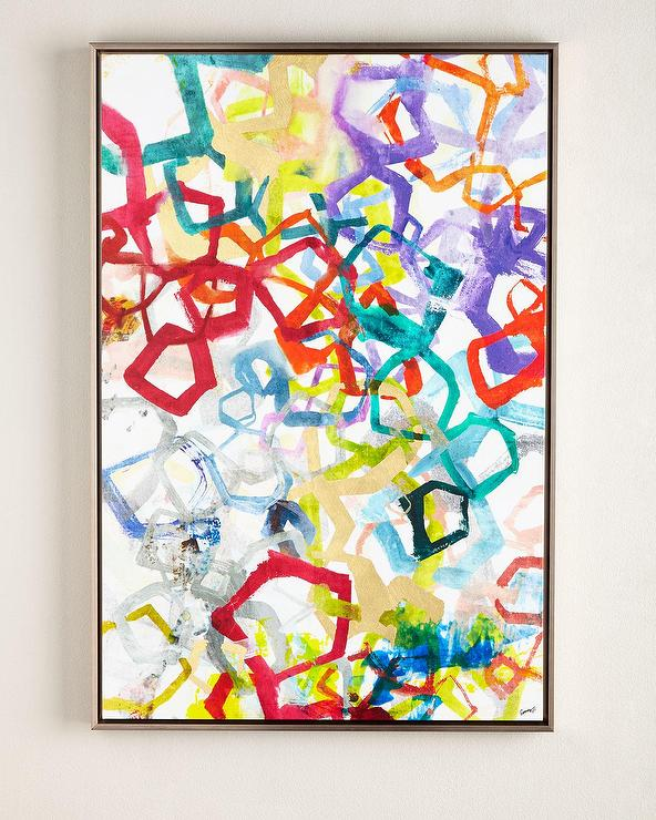 Entangled Rainbow Colors in Gold Giclee Wall Art