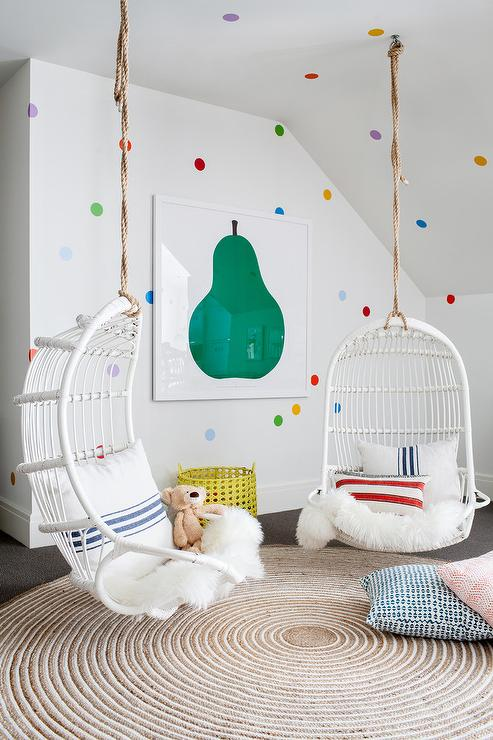 Girls Room With White Hanging Chairs Contemporary Girl S Room