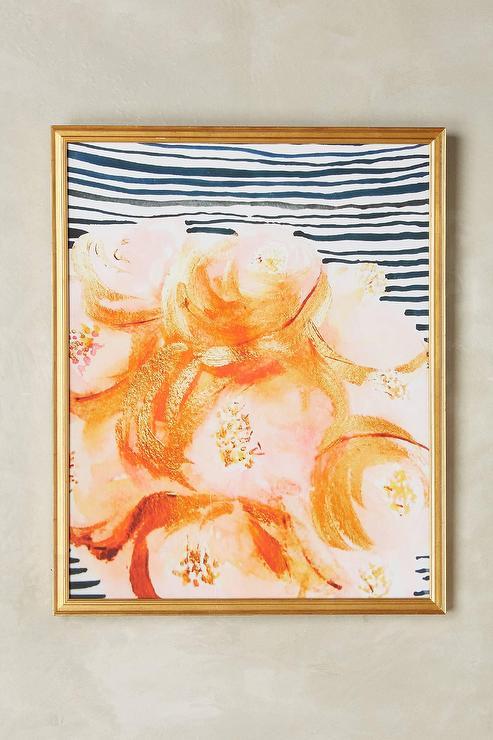 flowers striped gold wall art