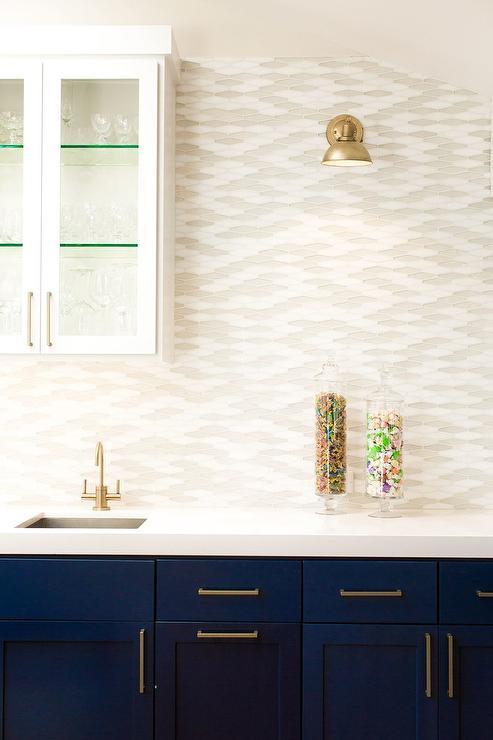 White And Gray Glass Kitchen Tiles Contemporary Kitchen