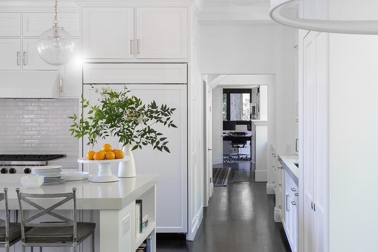 Glazed Kitchen Tile : Glazed white kitchen backsplash transitional