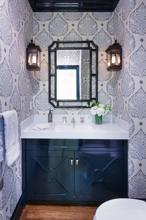 Black footed sink vanity with silver drop ring pulls for Blue and black bathroom ideas