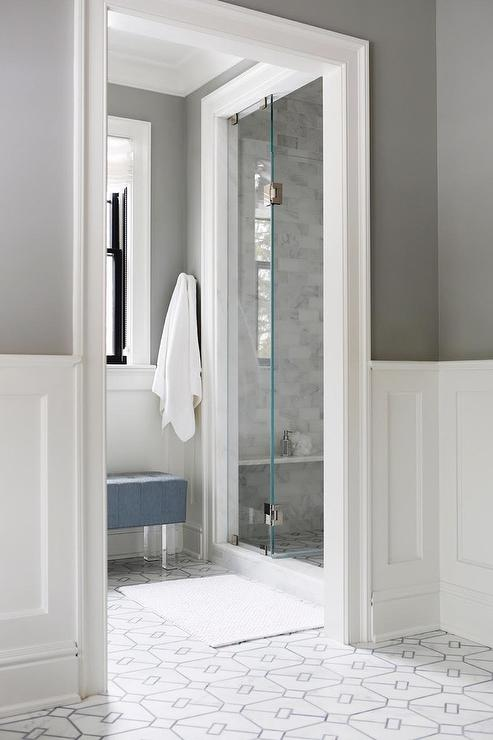 Charcoal Gray Bathroom Walls With White Wainscoting