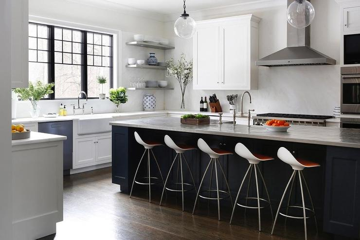White Cabinets With Blue Kitchen Island