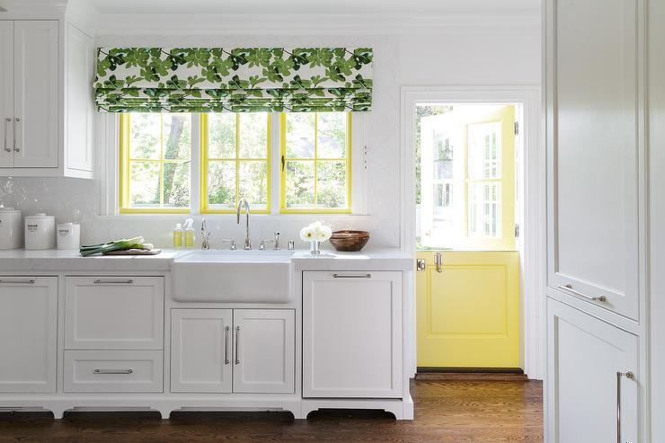 David Duncan Livingston Photography   Gorgeous White Kitchen Complemented  With Green And Yellow Accents Features A Yellow Dutch Door Positioned Near  Yellow ...