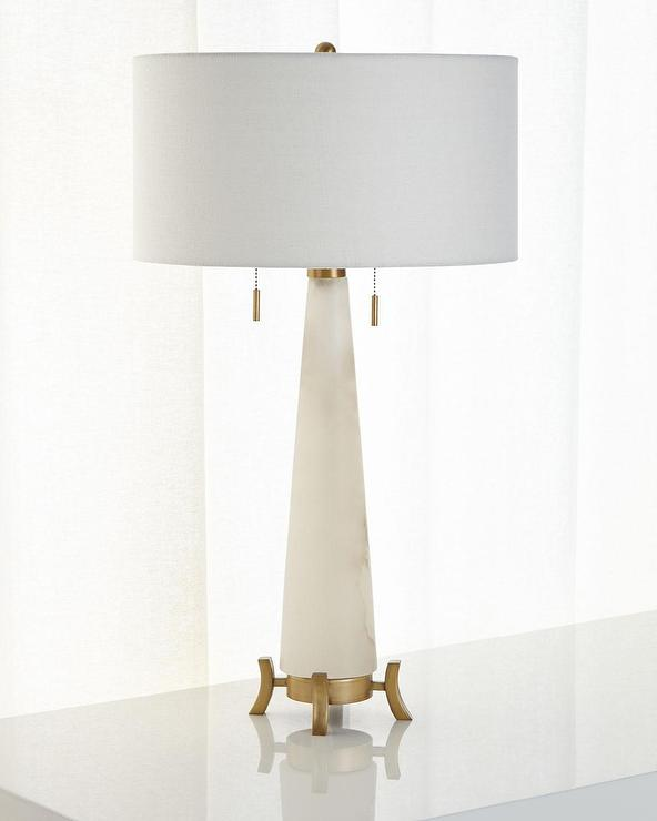 Cone brass foot table lamp alabaster cone brass foot table lamp mozeypictures Image collections