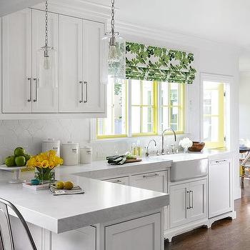 White Kitchen With Green And Yellow Accents